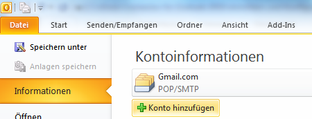 Hotmail-Konto in Outlook 2010