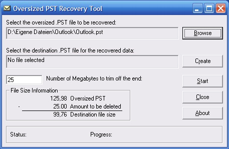 Oversized PST Recovery Tool