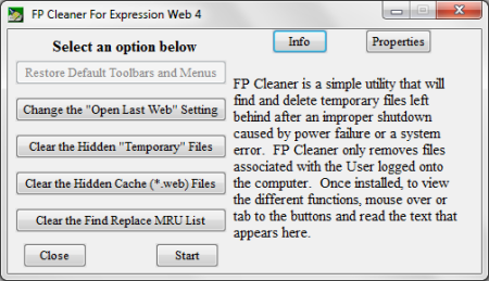 Expression Web 4 clean up utility