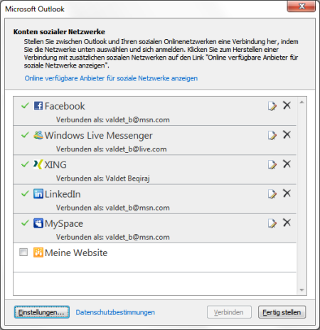 Outlook Connector für Hotmail, Facebook, LinkedIn, XING, MySpace und Windows Live