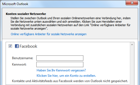 Outlook Social Connector für Facebook