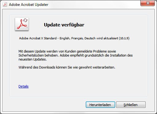 Adobe Reader und Acrobat 10.1.10 Update