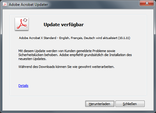 Adobe Reader und Acrobat 10.1.12 Update