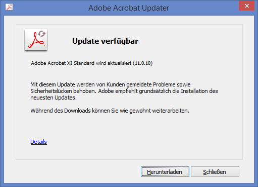 Adobe Reader und Acrobat 11.0.10 Update