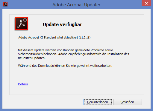Adobe Reader und Acrobat 11.0.12 Update