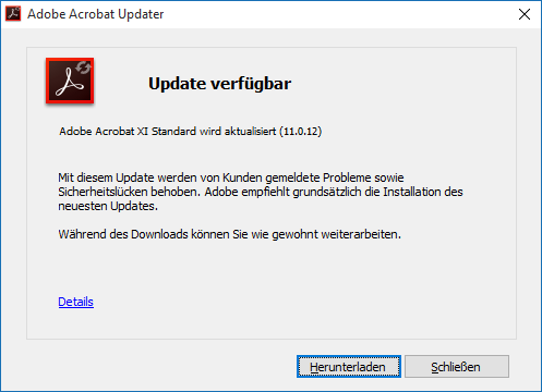 Adobe Reader und Acrobat 11.0.13 Update