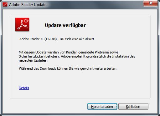Updating adobe reader 11