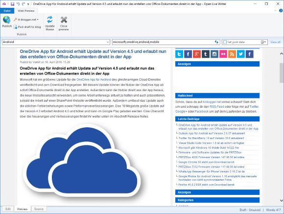 Open Live Writer App für Windows 10