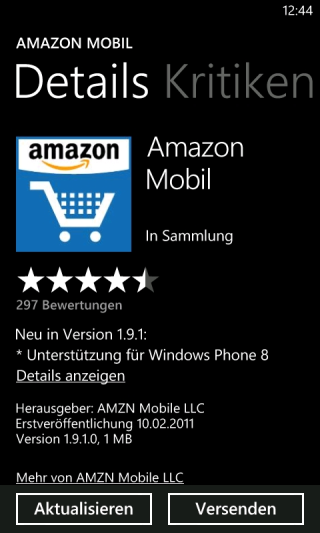 Amazon Mobil für Windows Phone