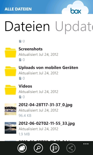 Box App für Windows Phone