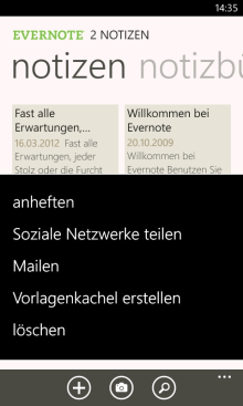 Evernote für Windows Phone