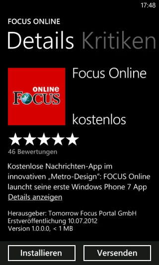 FOCUS Online App für Windows Phone