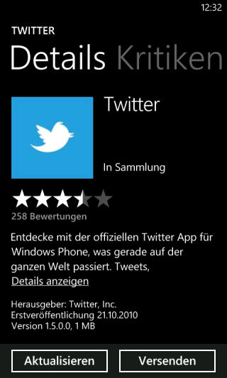Twitter App für Windows Phone