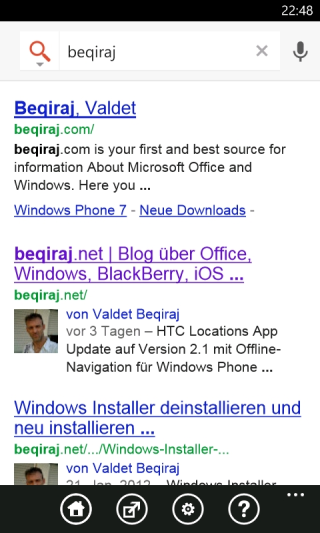 Google Search App für Windows Phone
