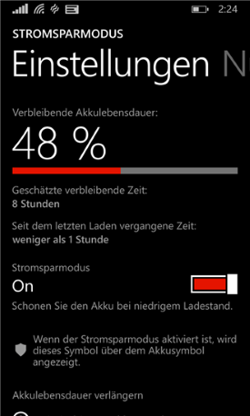 Stromsparmodus App für Windows Phone 8.1
