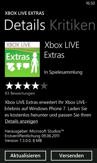 Xbox LIVE Extras für Windows Phone 7