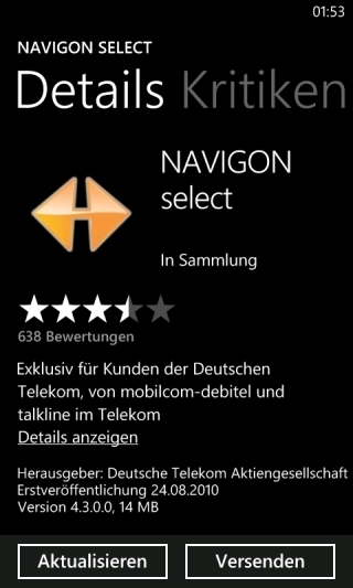 NAVIGON select Edition für Windows Phone