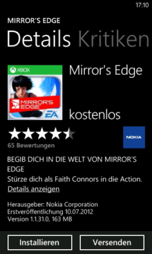 Mirror's Edge App for Windows Phone Lumia Devices
