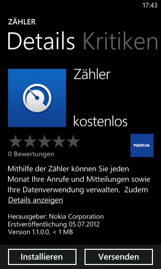 Nokia Counters app for Windows Phone Lumia Devices