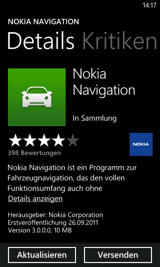Nokia Navigation App für Windows Phone