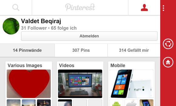Pinterest App für Windows Phone 8
