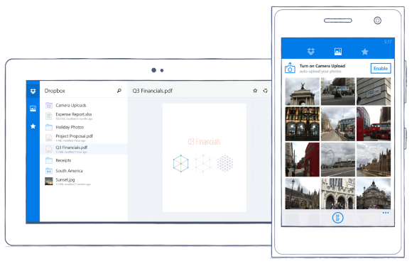 Dropbox app for Windows Phones and Tablets