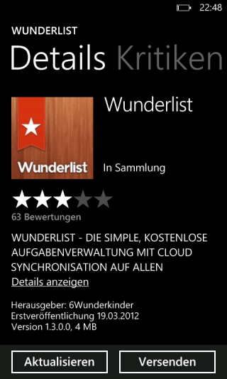 Wunderlist für Windows Phone