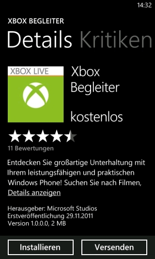 Xbox Companion App für Windows Phone 7