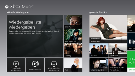 Xbox Music App für Windows 8
