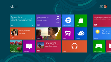 The new Windows 8 Release Preview Start screen.