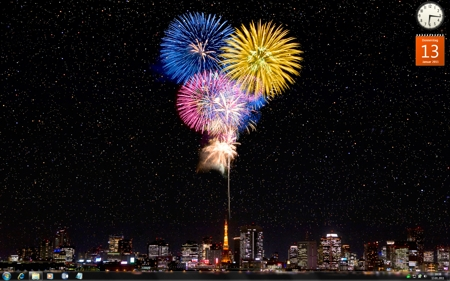 Fireworks and night view of Tokyo Tower, Tokyo, Japan.
