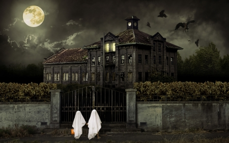 Ticket to Fear Halloween theme - Children in ghost costumes trick or treat at haunted house.
